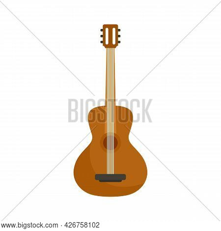Acoustic Guitar Icon. Flat Illustration Of Acoustic Guitar Vector Icon Isolated On White Background