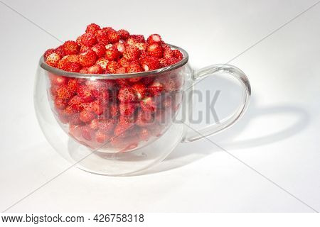 Full Glass Cup Of Ripe Wild Strawberry Isolated On Light Background.