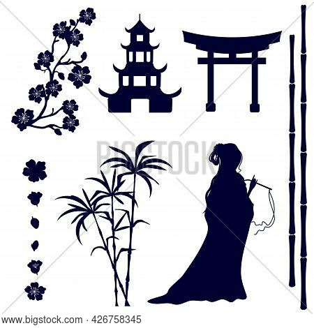 Silhouette Of An Asian Girl, Pagoda, Gate, Sakura Flowers, Bamboo Stems On A White Background.