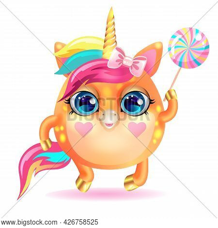 Cute Unicorn With A Golden Horn And Lollipop.