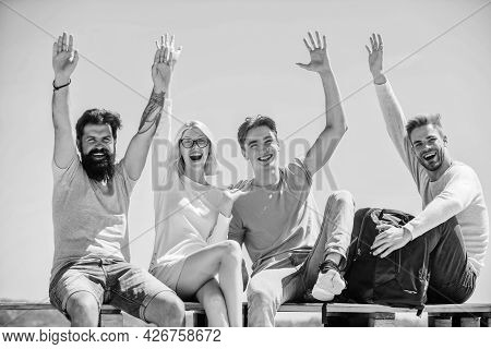 Freedom Concept. Hello There Concept. Young And Free. Success And Achievement. Cheerful People Commu