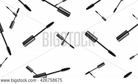 The Mascara Brush Is Isolated On A White Background. The Mascara Is Isolated. Flying Mascara Brush.