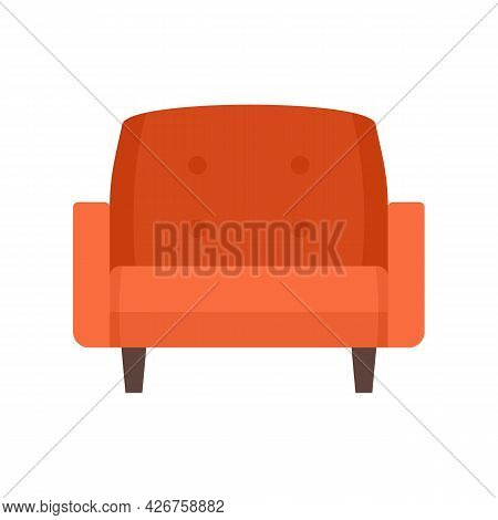 Leather Armchair Icon. Flat Illustration Of Leather Armchair Vector Icon Isolated On White Backgroun
