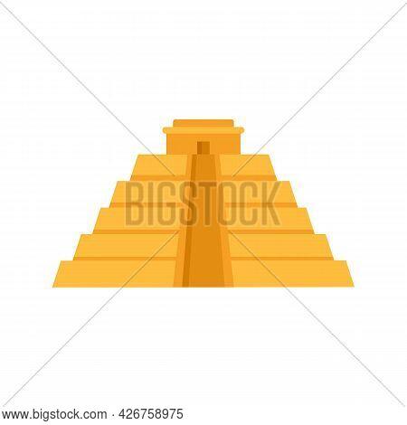 Maya Pyramid Icon. Flat Illustration Of Maya Pyramid Vector Icon Isolated On White Background
