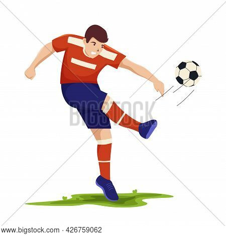 Football Players. Soccer Sportsmen, People Playing With A Ball. Athlete Goal And Kick, Isolated Spor