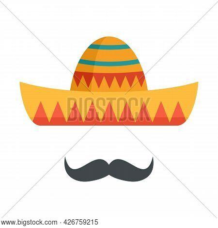 Sombrero And Mustache Icon. Flat Illustration Of Sombrero And Mustache Vector Icon Isolated On White
