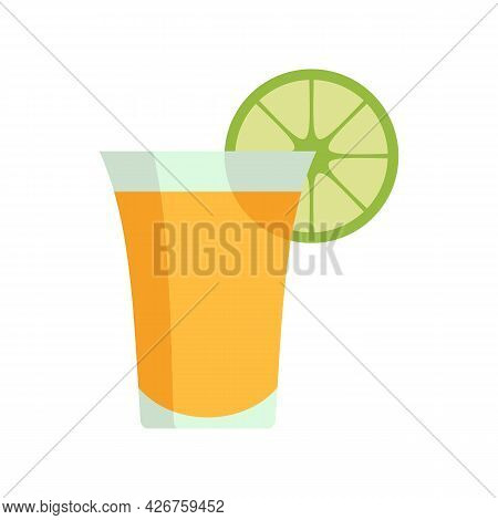 Tequila Cocktail Icon. Flat Illustration Of Tequila Cocktail Vector Icon Isolated On White Backgroun