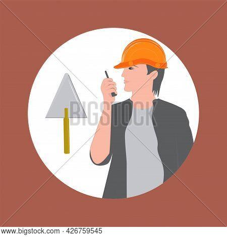 Builder In Overalls And Hard Hat, Trowel - Vector. Poster. Banner. Builder's Day.
