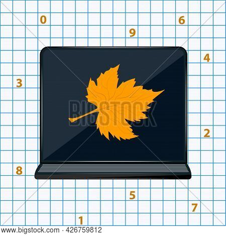 Notebook, Autumn Leaves - Background Of Sheet Of A Notebook In A Cage - Vector. Back To School. Sale