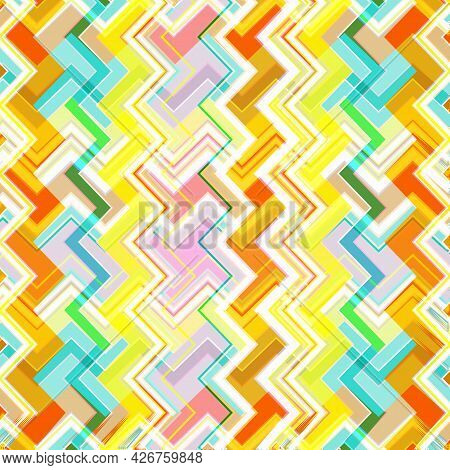 Beautiful Abstract Vector Background. Intersection Of Brightly Colored Zigzags And Other Curly Lines
