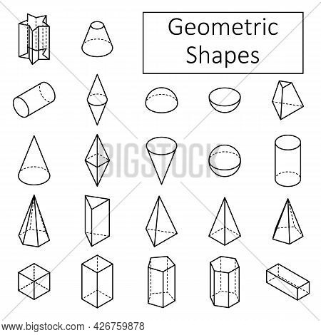 Set Of 3d Geometric Shapes. Basic Isometric Shapes. Linear Objects. Isolated Vector Illustration On