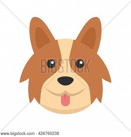 Cute Corgi Dog Icon. Flat Illustration Of Cute Corgi Dog Vector Icon Isolated On White Background