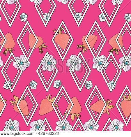 Vector Bright Pink Background Garden Strawberries, Berry Flowers, Berries Fruits. Seamless Pattern B