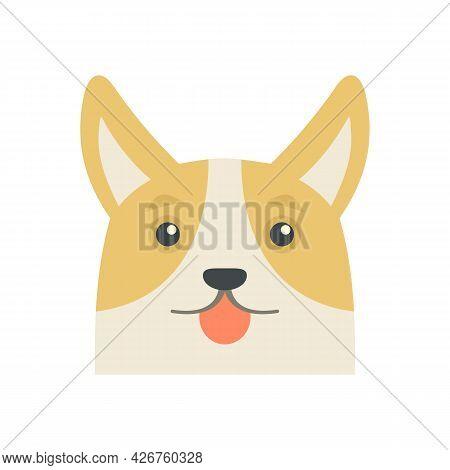 Lovely Corgi Dog Icon. Flat Illustration Of Lovely Corgi Dog Vector Icon Isolated On White Backgroun