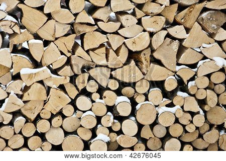 Wood stock background stacked firewood pattern