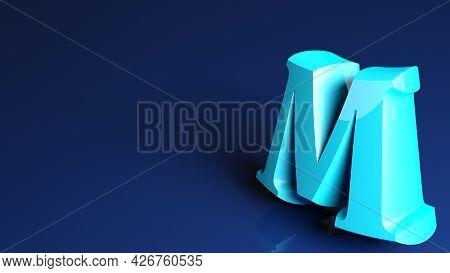 Blue Background With M  Letter - 3d Rendering Illustration