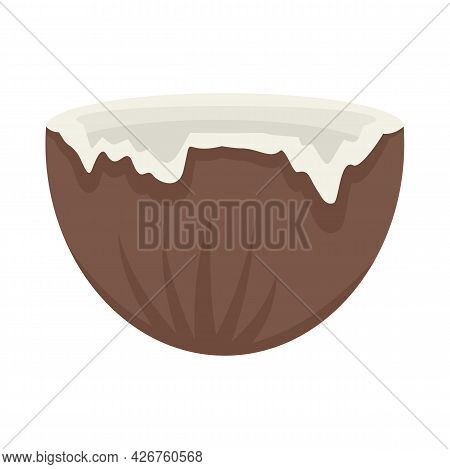 Half Crack Coconut Icon. Flat Illustration Of Half Crack Coconut Vector Icon Isolated On White Backg