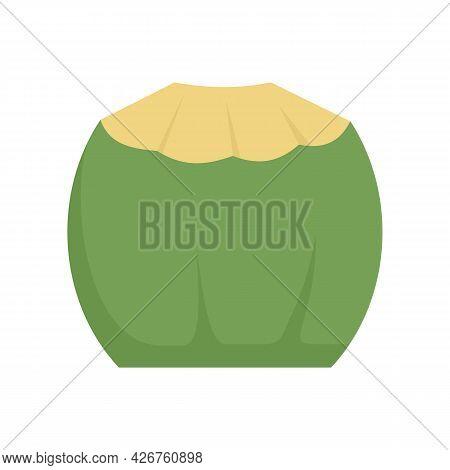 Fresh Coconut Icon. Flat Illustration Of Fresh Coconut Vector Icon Isolated On White Background