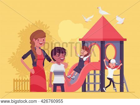 Kindergarten Playground, Teacher And A Child Boy. Children Playpark, Daycare Recreation, Outdoor Sum