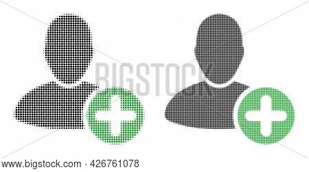 Dot Halftone Add User Icon. Vector Halftone Mosaic Of Add User Icon Made Of Circle Items.
