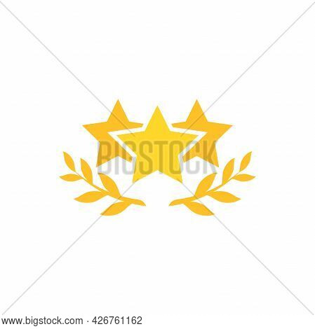Valid Seal Icon. Golden Star With Win Laurel. Isolated On White. Gold Medal, Sticker Icon. Best Qual