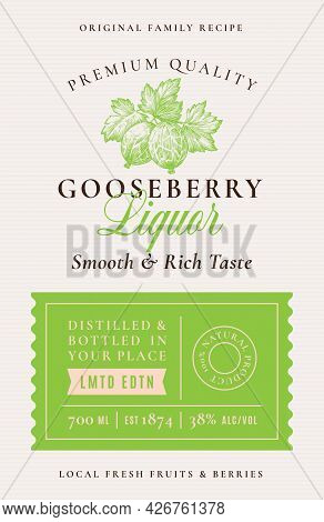 Family Recipe Gooseberry Liquor Acohol Label. Abstract Vector Packaging Design Layout. Modern Typogr