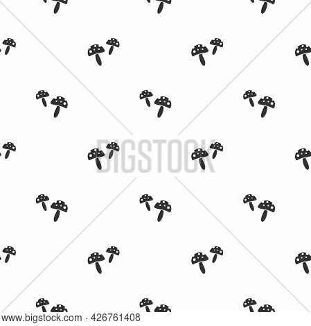 Seamless Pattern With Black Death Cup Mushrooms. Funguses, Toadstool Black Ornament. Halloween Wallp