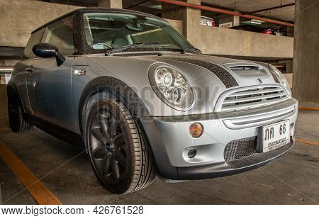 Bangkok, Thailand - 30 Jun 2021 : Side View Of Silver Mini Cooper Parked In The Parking Lot. Selecti