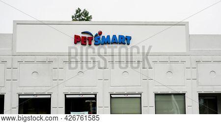 NORWALK, CT, USA - JULY 13, 2021: Pet Smart  store sign  near Post Road