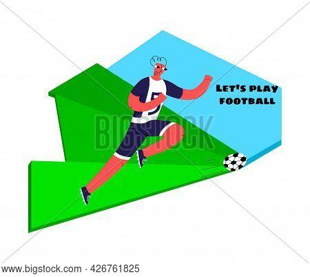 Soccer Player Athlete Kicks The Ball On Lawn