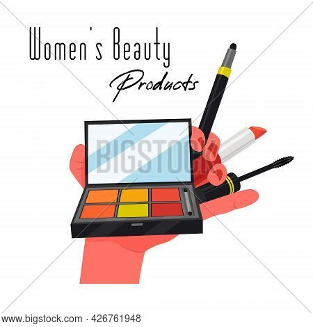 A Hand Holding A Box For Eyeshadows, Makeup