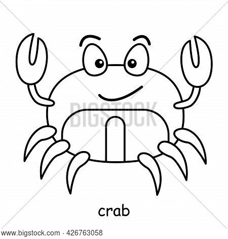 Children Coloring On The Theme Of Animal Vector, Crab