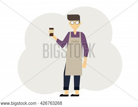 Illustration Of Barista Man With Glasses Of Coffee And In Uniform With Aprons