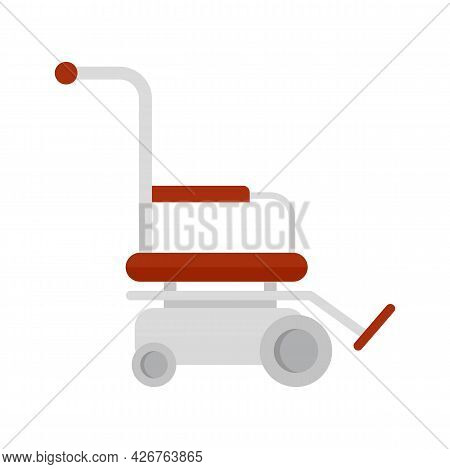 Motor Wheelchair Icon. Flat Illustration Of Motor Wheelchair Vector Icon Isolated On White Backgroun