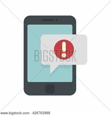 Smartphone Notification Icon. Flat Illustration Of Smartphone Notification Vector Icon Isolated On W