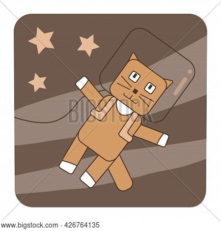 Cute Cat In Space Suit Fly In Cosmos Space. Astronaut Flying Among The Stars, Kids Card, Poster, Ico