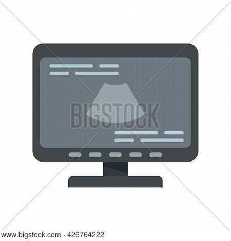 Ultrasound Monitor Icon. Flat Illustration Of Ultrasound Monitor Vector Icon Isolated On White Backg
