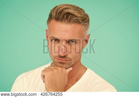Personal Care. Serious Well Groomed Guy. Handsome Male Has Perfect Skin On His Face. New Dye Haircut