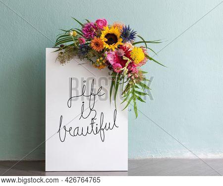 Life is beautiful floral board mockup