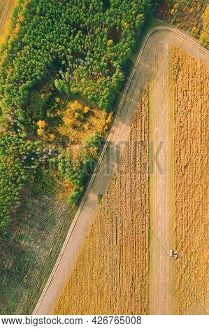 Aerial View Of Rural Landscape. Combine Harvester And Truck Working Together In Field, Collects Seed