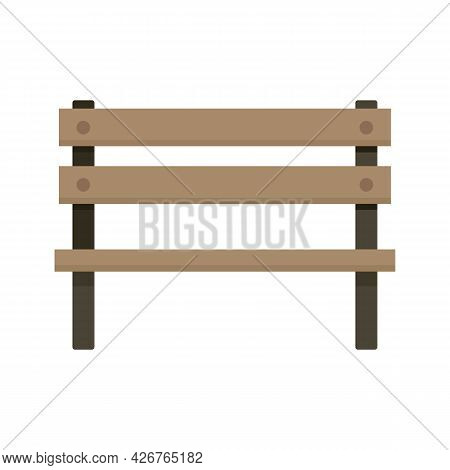 Wooden Bench Icon. Flat Illustration Of Wooden Bench Vector Icon Isolated On White Background