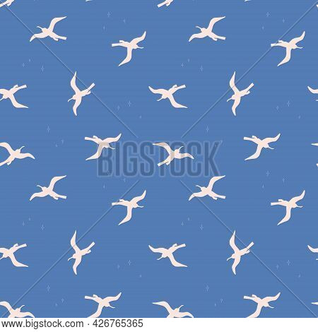 Seamless Pattern With White Birds On Bluebackground. Silhouettes Of Seagulls Flying In The Sky. Vect