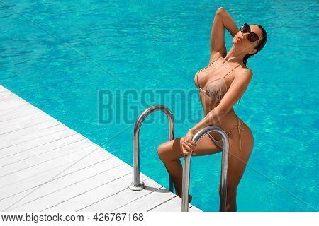 Beautiful Woman In Bikini Getting Out Of Swimming Pool. Space For Text