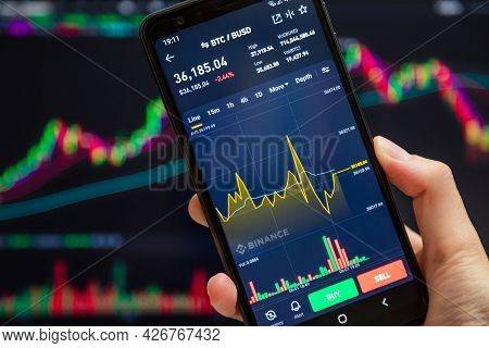 Ukraine, Odessa - June, 1 2021: Trading Pair Btc Busd At Binance Mobile App Running At Smartphone Sc