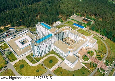 Aerial View Of Building Of Scientific Center For Medicine And Ecology In Summer Sunny Day. Top View.