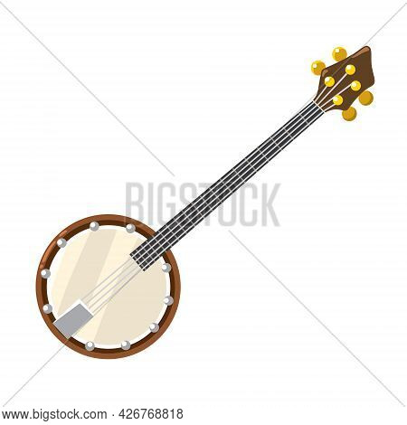 Banjo With Strings. Musical Instrument Vector Illustration