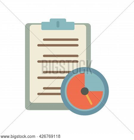 Clipboard Time Task Icon. Flat Illustration Of Clipboard Time Task Vector Icon Isolated On White Bac