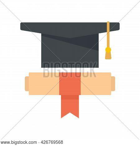 Graduation Hat Diploma Icon. Flat Illustration Of Graduation Hat Diploma Vector Icon Isolated On Whi