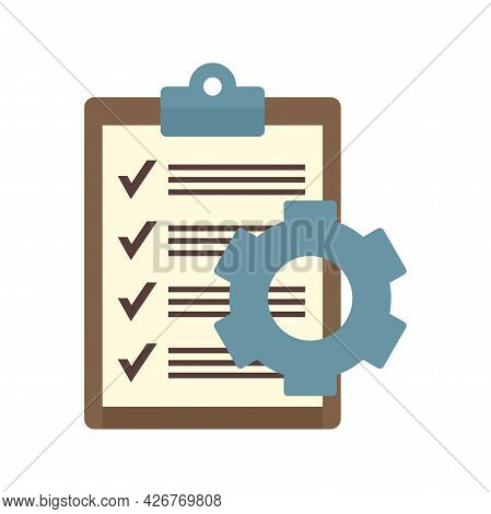Clipboard Gear Icon. Flat Illustration Of Clipboard Gear Vector Icon Isolated On White Background
