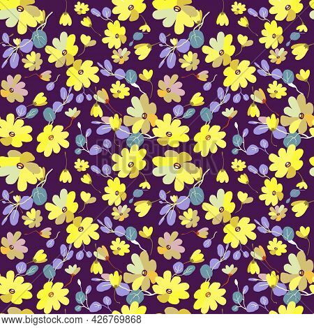 Cute Pattern In Small Flowers With Eucalyptus. Small Pink, Yellow Flowers. Exotic Purple Background.